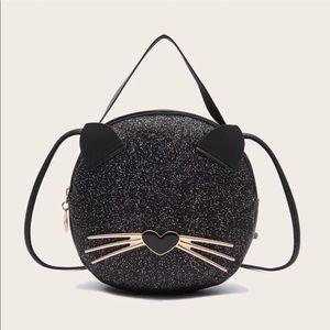 Handbags - Cat Glitter Decor Black Satchel Bag